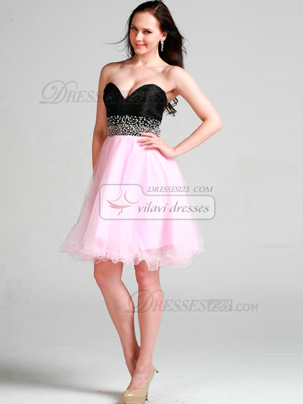 Beautiful A-line Tulle Sweetheart Knee-length Cocktail/Sweet 16 Dresses