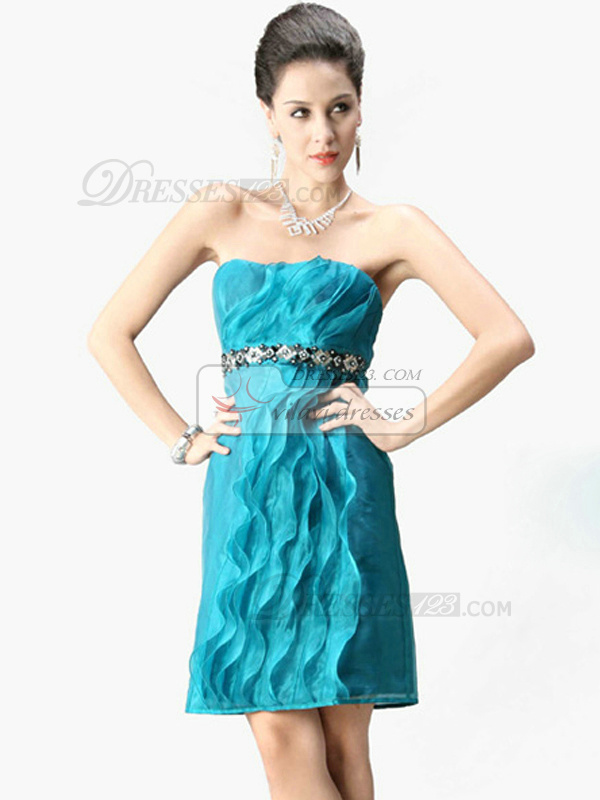 Marvelous Sheath/Column Tulle Tube Top Rhinestone Prom/Cocktail Dresses