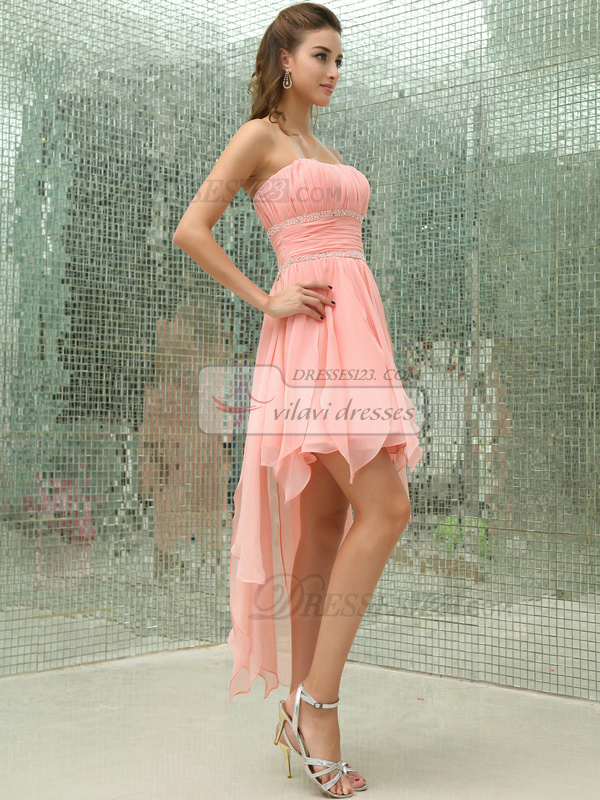Lovely A-line Tulle Asymmetrical Train Draped Prom Dresses