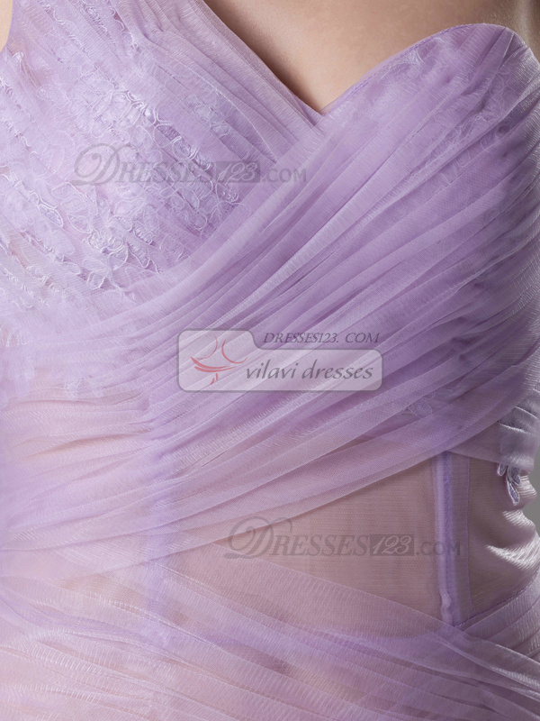 Sexy Mermaid/Trumpet Tulle One shoulder Floor-length Prom Dresses