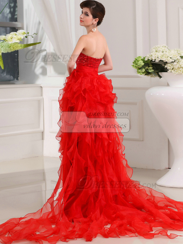 Gorgeous A-line Sweetheart Asymmetrical Train Cascading Ruffle Prom Dresses