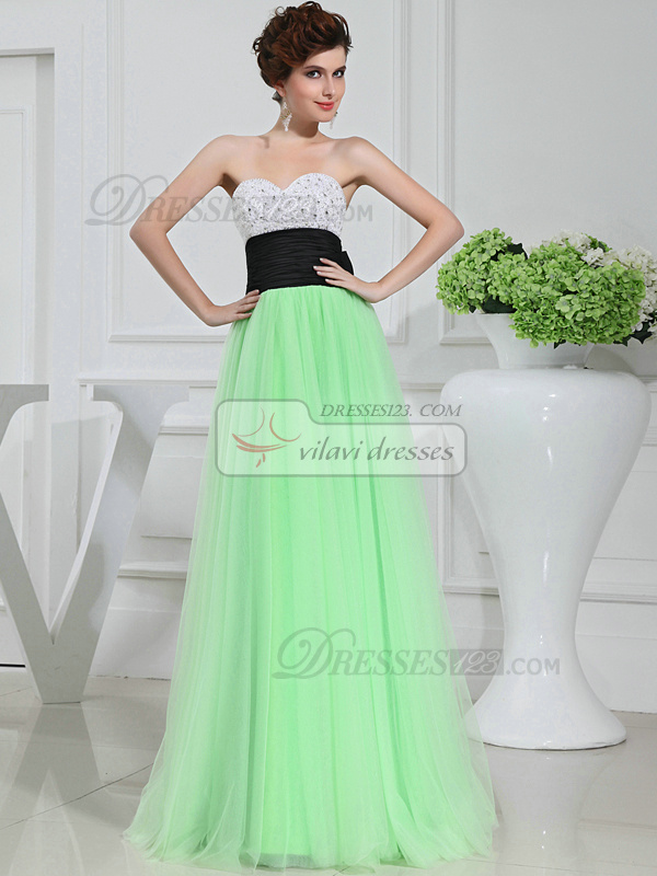 Fabulous A-line Tulle Sweetheart Sashes Evening Dresses