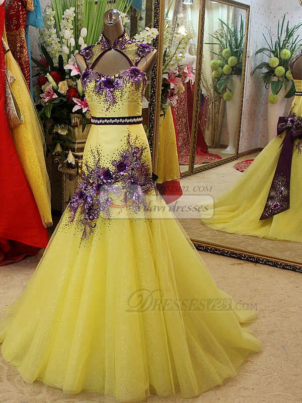Mermaid High Neck Brush Train Tulle Crystal Open Back Prom Dresses With Three-dimensional Flowers