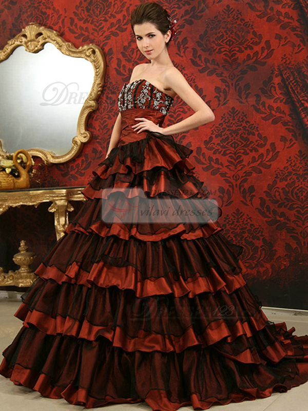 A-line Strapless Brush Train Tulle Sequin Tiered Quinceanera Dresses
