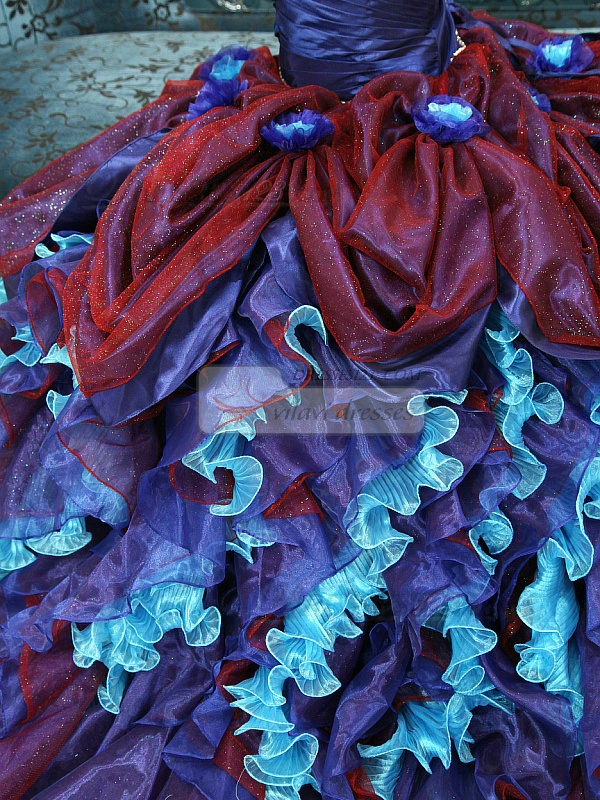 Princess One Shoulder Brush Train Tulle Ruffle Quinceanera Dresses