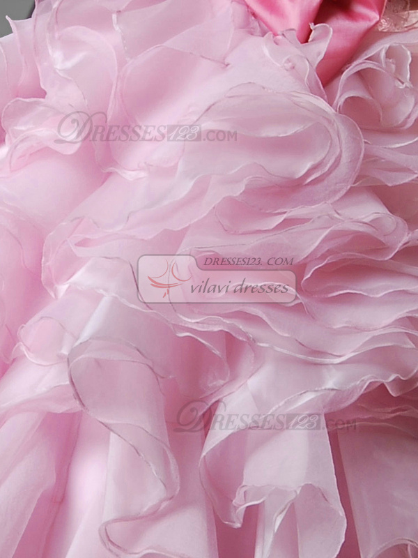 Ball Gown Strapless Floor-length Tulle Crystal Ruffle Quinceanera Dresses With Big Bowknot
