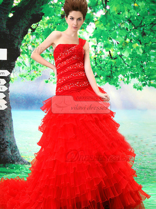 Ball Gown One Shoulder Court Train Tulle Sequin Tiered Quinceanera Dresses
