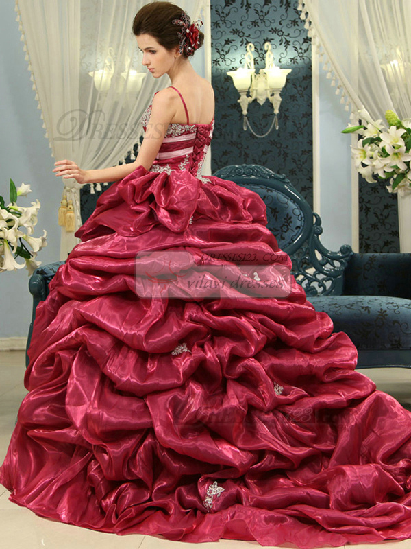 Princess Spaghetti Straps Pick Ups Brush Train Tulle Sequin Quinceanera Dresses With Short Sleeve Jacket