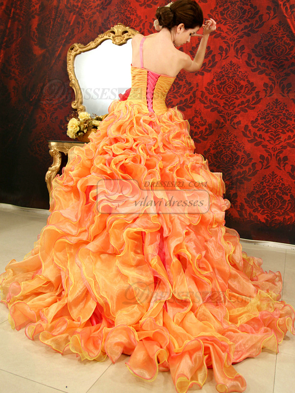 Princess One Shoulder Court Train Tulle Sequin Ruffle Quinceanera Dresses With Short Sleeve Jacket