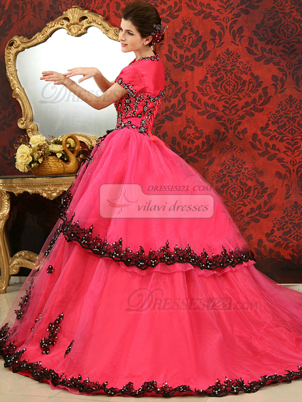 Ball Gown Strapless Brush Train Tulle Sequin Lace Quinceanera Dresses With Short Sleeve Jacket