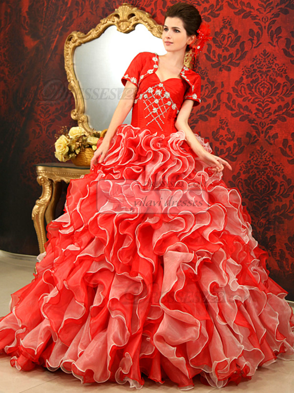 Princess Single Spaghetti Strap Brush Train Tulle Crystal Ruffle Quinceanera Dresses With Short Sleeve Jacket