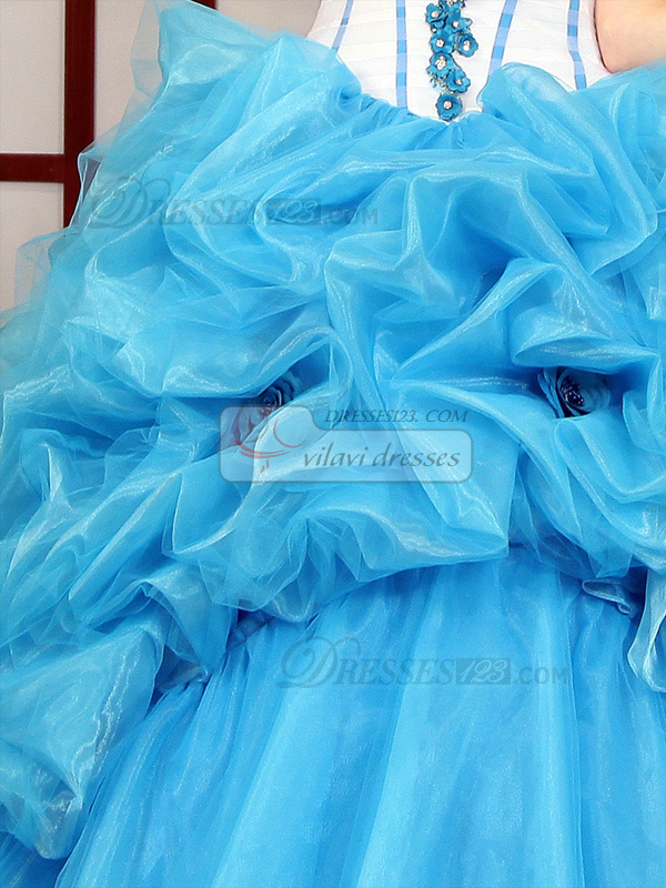 Princess Strapless Pick Ups Brush Train Tulle Flower Quinceanera Dresses