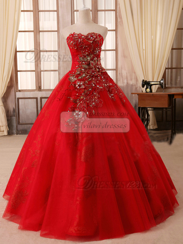 Ball Gown Sweetheart Floor Length Tulle Embroidery Prom