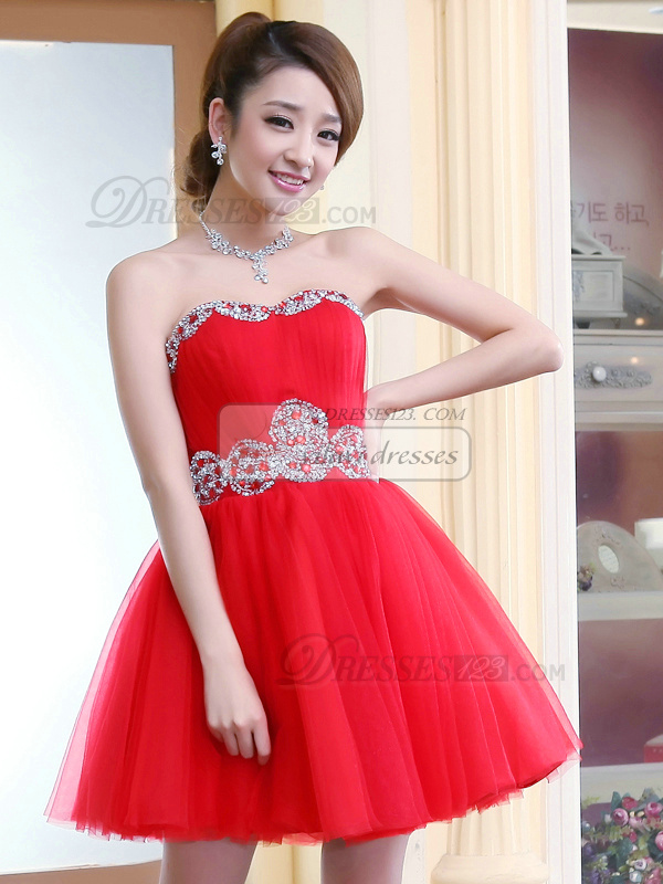 Princess Strapless Short Tulle Sequin Rhinestone Homecoming Dresses