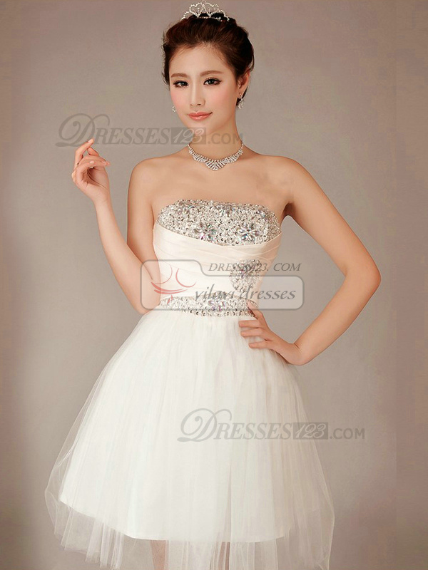 Ball Gown Tube Top Mini Tulle Beading Rhinestone Homecoming Dresses ...