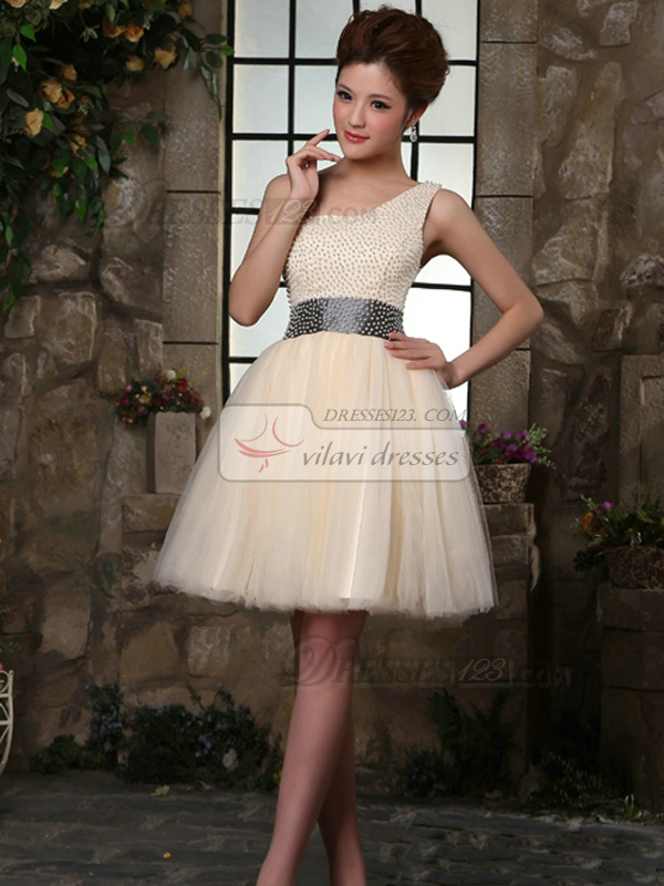A-line One Shoulder Mini Tulle Beading Homecoming Dresses