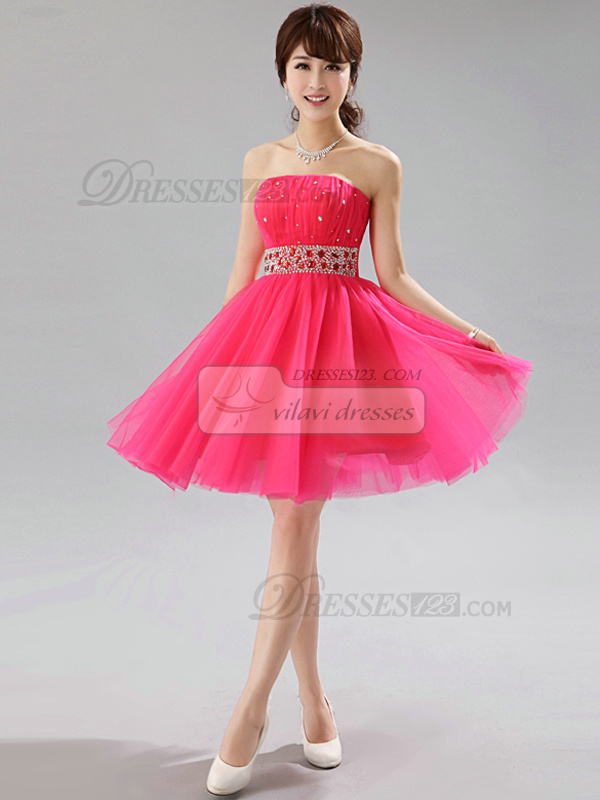 A-line Strapless Short Tulle Sequin Rhinestone Homecoming Dresses