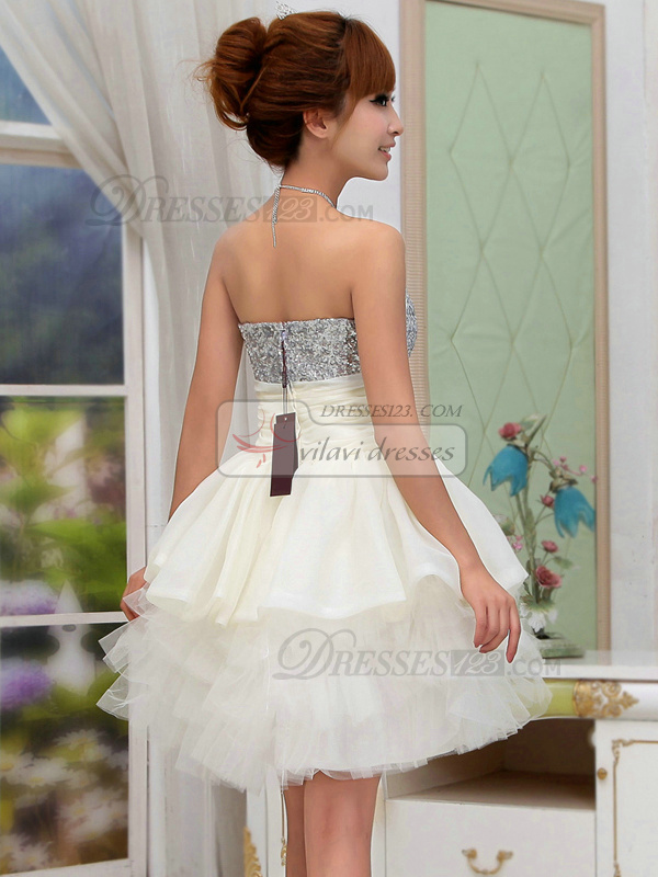 Ball Gown Strapless Short Tulle Rhinestone Homecoming Dresses