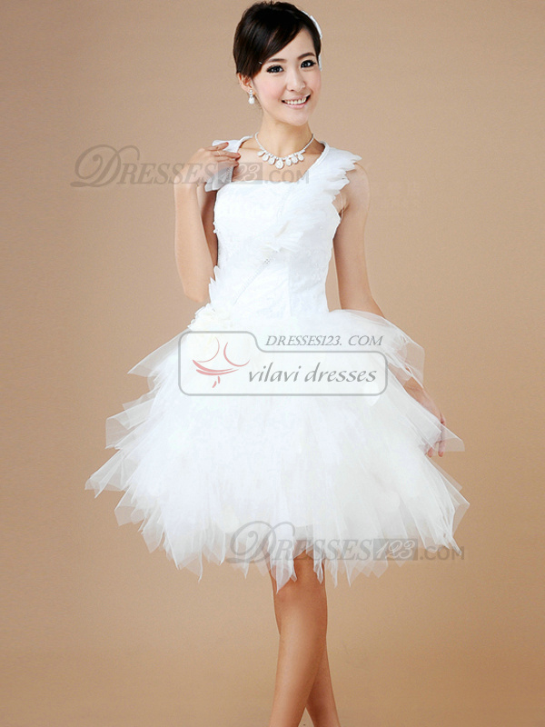 Princess Halter Mini Tulle Cascading Ruffle Homecoming Dresses
