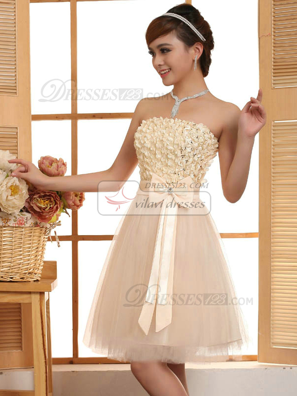 A-line Strapless Short Tulle Bowknot Homecoming Dresses