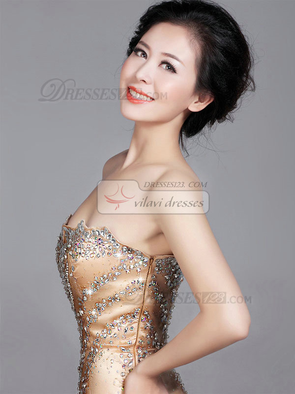Mermaid Scalloped-edge Brush Train Tulle Crystal Beading Prom Dresses