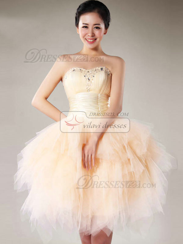 Ball Gown Sweetheart Short Tulle Crystal Ruffle Homecoming Dresses