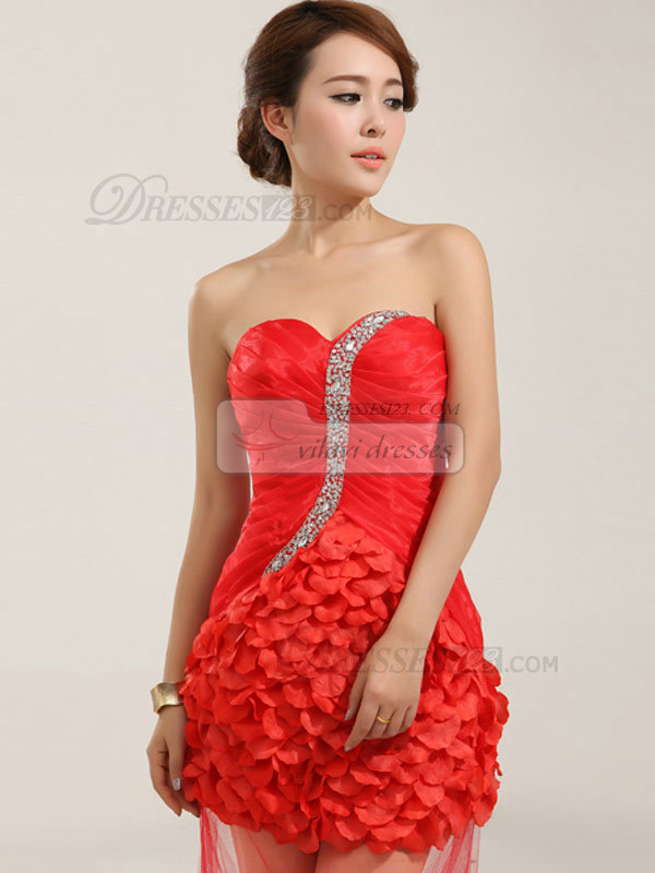 A-line Sweetheart Court Train Tulle Flower Crystal Prom Dresses With Semi Transparent