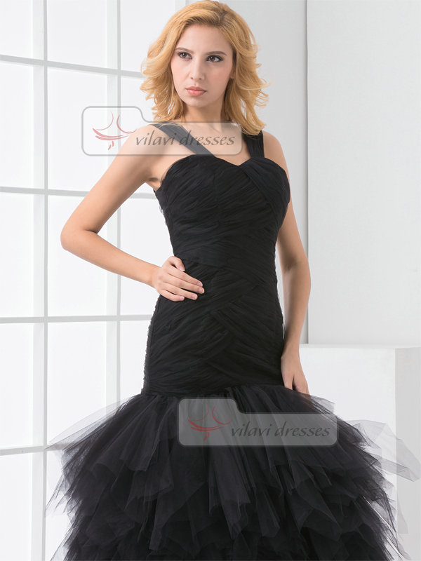 Mermaid Straps Brush Train Tulle Cascading Ruffle Prom Dresses