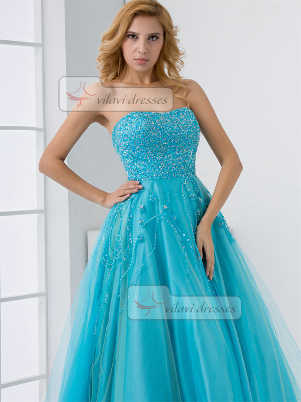 A-line Sweetheart Floor-length Tulle Sequin Beading Prom Dresses