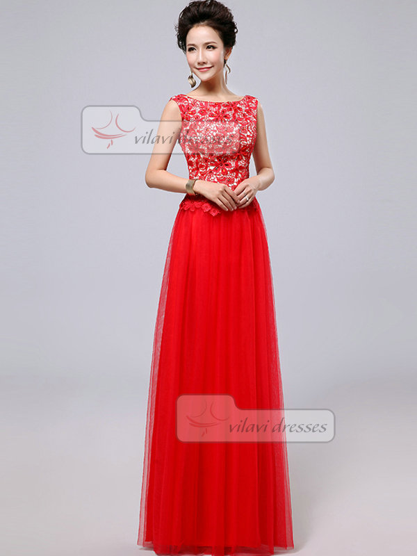 Column Bateau Floor-length Tulle Crystal Flower Prom Dresses