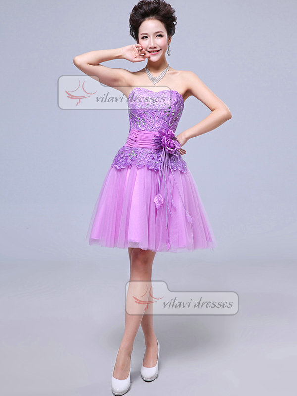 A-line Sweetheart Strapless Short Tulle Flower Crystal Prom Dresses