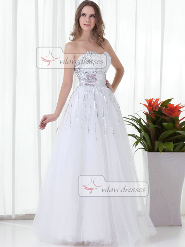 A-line Strapless Floor-length Tulle Sequin Prom Dresses