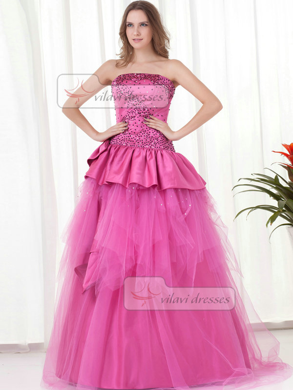 Ball Gown Strapless Floor-length Tulle Beading Quinceanera Dresses