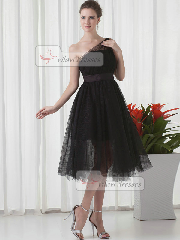 A-line One Shoulder Tea-length Tulle Draped Cocktail Dresses