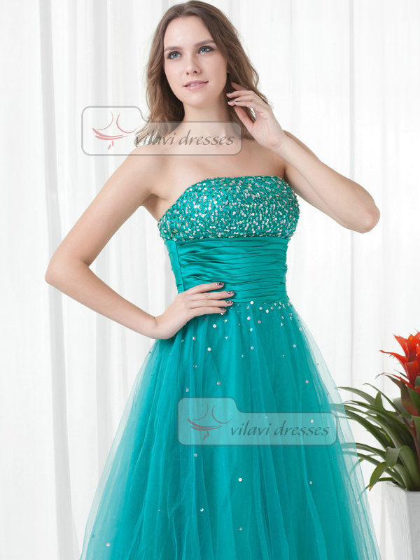 A-line Strapless Floor-length Tulle Sequin Beading Prom Dresses