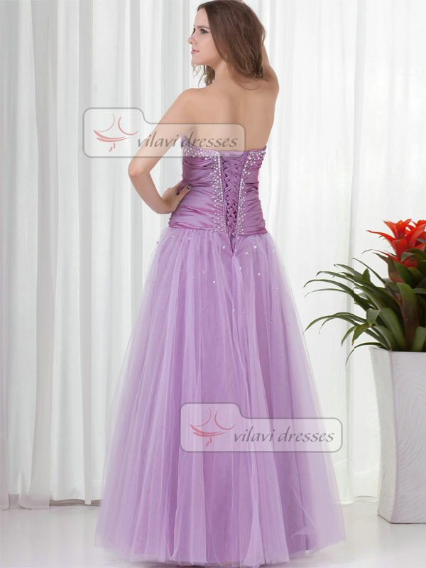 A-line Strapless Floor-length Tulle Beading Sequin Prom Dresses