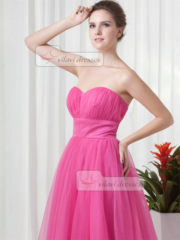 A-line Sweetheart Strapless Floor-length Tulle Draped Evening Dresses