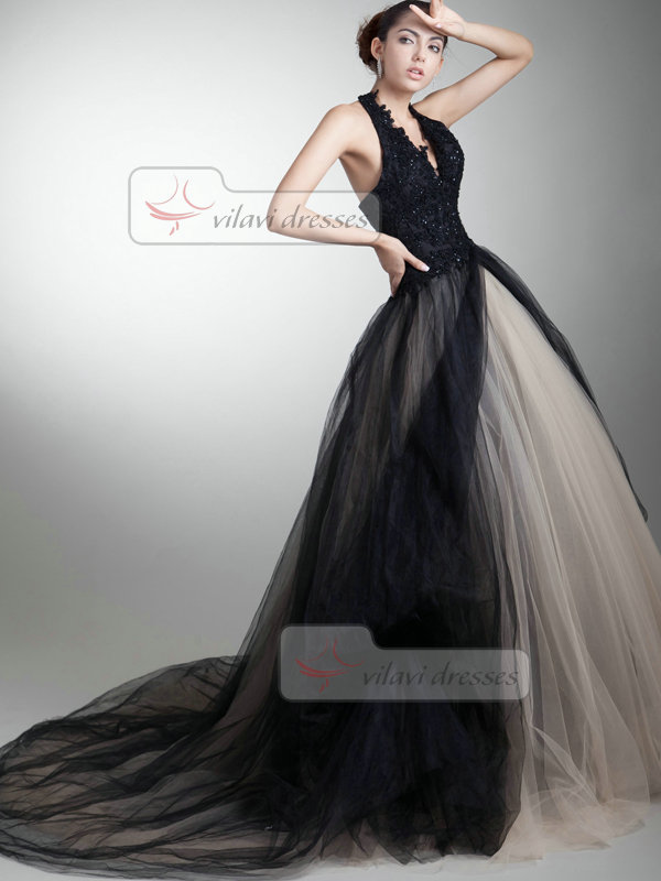 Ball Gown Halter Brush Train Tulle Sequin Beading Prom Dresses