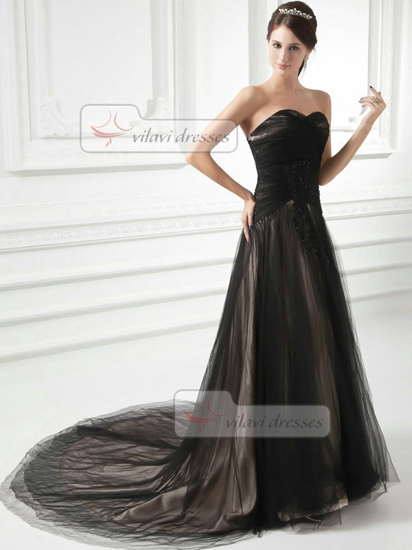 A-line Strapless Brush Train Tulle  Beading Appliques Prom Dresses