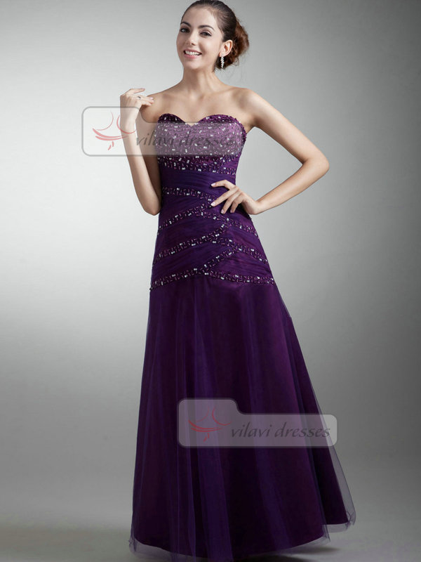 Over Hip Strapless Floor-length Tulle Beading Sequin Prom Dresses