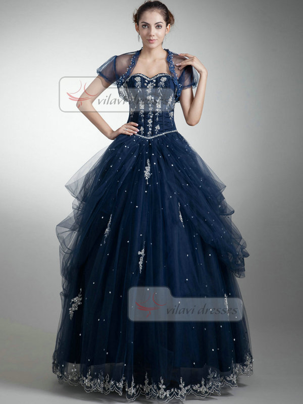 Princess Sweetheart Floor-length Tulle Short Sleeve Beading Prom Dresses With Jacket