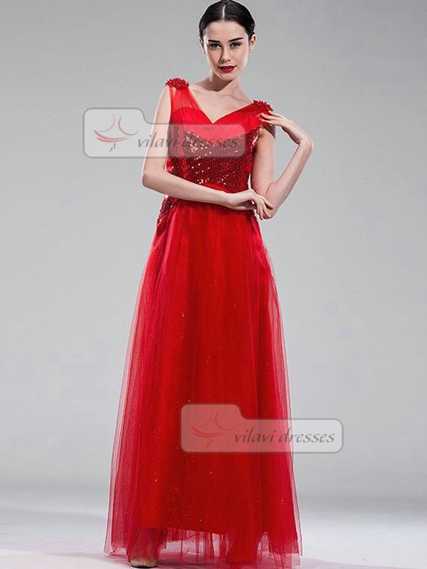 A-line V-neck Floor-length Tulle Beading Criss-cross Prom Dresses With Sequin