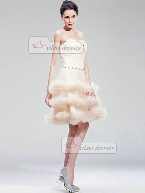 A-line Sweetheart Short Tulle Crystal Beading Tiered Prom Dresses