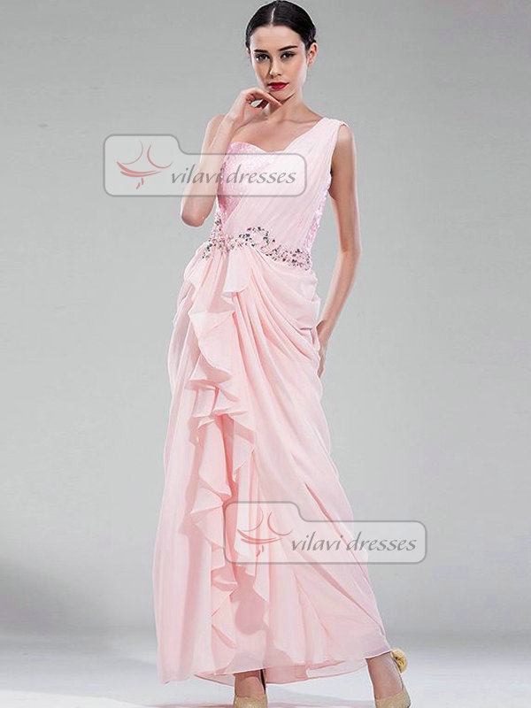 Column One Shoulder Floor-length Chiffon Ruffles Evening Dresses With Crystal