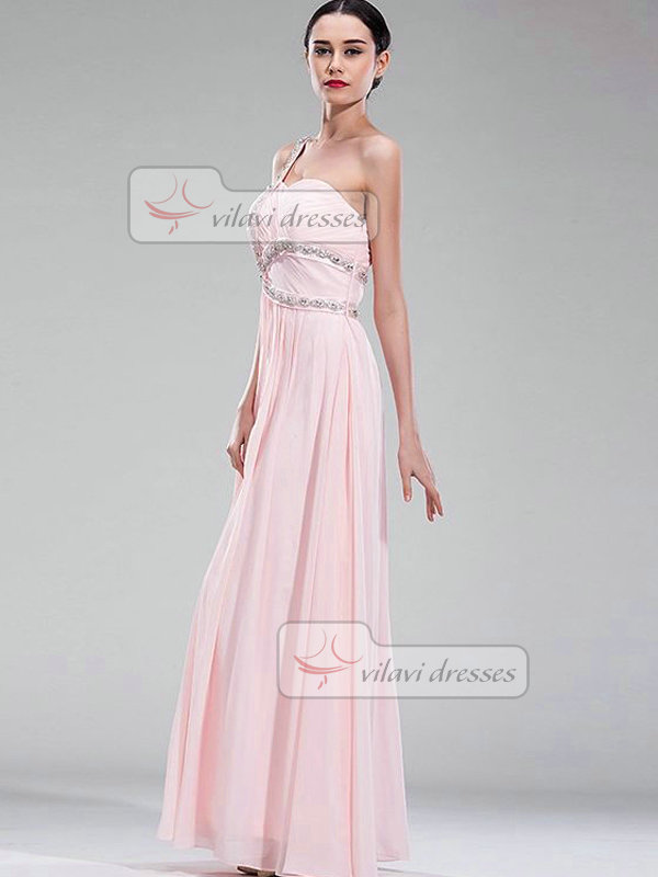 Column One Shoulder Floor-length Chiffon Crystal Evening Dresses