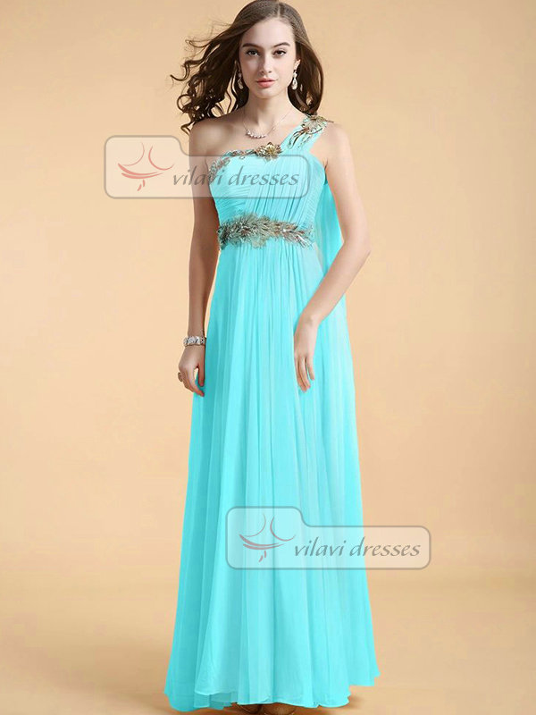 Column One Shoulder Floor-length Chiffon Appliques Draped Prom Dresses