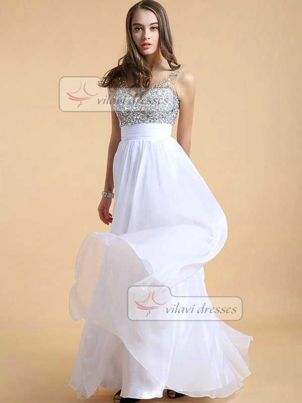 Column V-neck Floor-length Chiffon Crystal Sequin Draped Prom Dresses