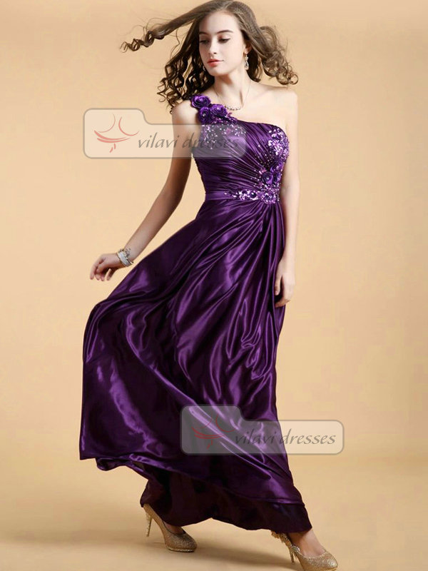 Column One Shoulder Floor-length Stretch Satin Appliques Prom Dresses With Sequin