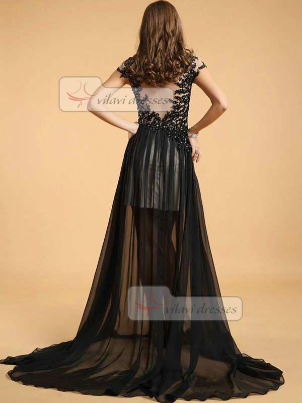 A-line Round Brought Sweep Tulle Semi Transparent Evening Dresses With Crystal
