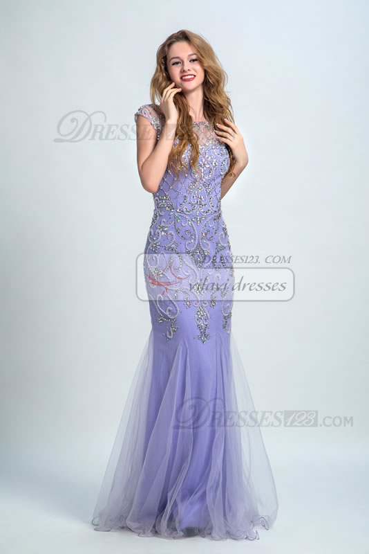 Mermaid Scoop Neck Beading Crystal Sheath Prom Dresses Maxi Gowns